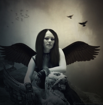 siyah kanatlı melek resmi