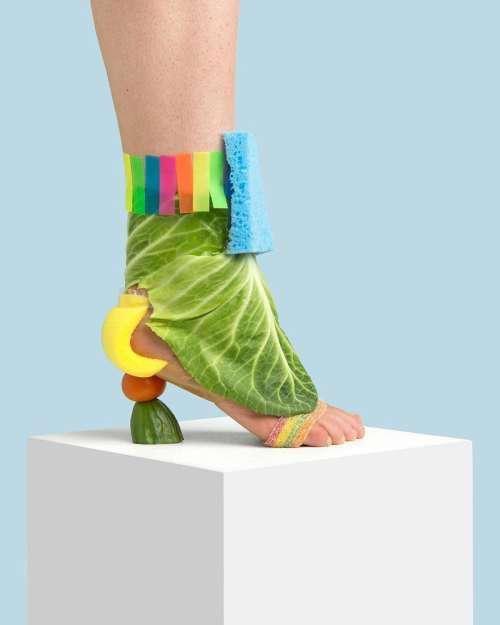 meyveli sebzeli ayakkabı