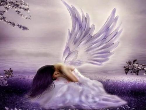 mor kanatlı melek resmi